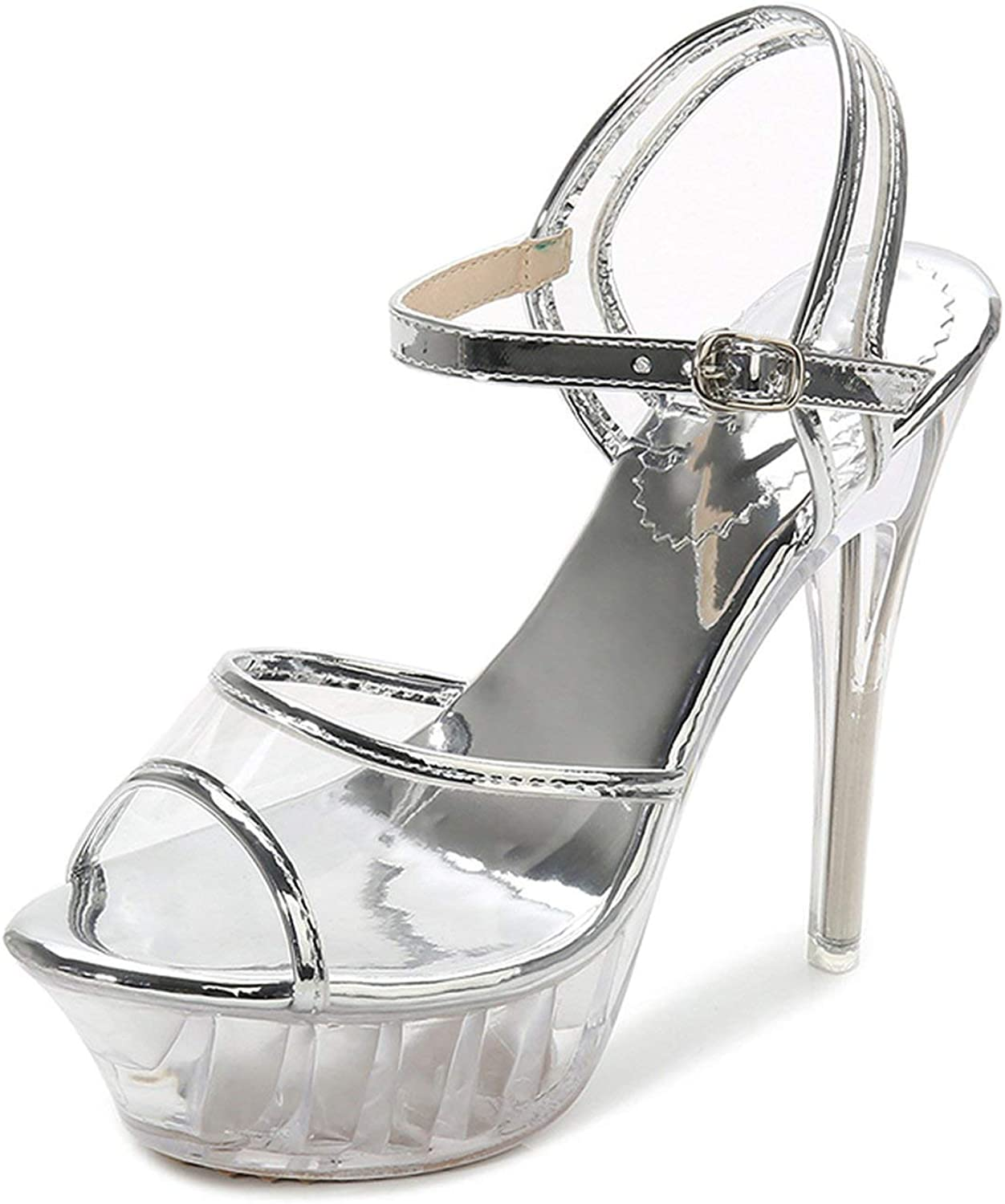 High Heels Womens Sandals Transparent Crystal Heel Model T Stage Sexy Lady Heeled shoes 35-43,14-75Silver,13
