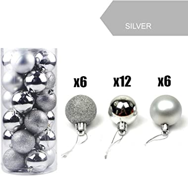 """Emopeak 24Pcs Christmas Balls Ornaments for Xmas Christmas Tree - Shatterproof Christmas Tree Decorations Small Hanging Ball for Holiday Wedding Party Decoration (Silver, 1.2""""-3.1cm)"""
