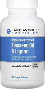 Lake Avenue Nutrition Organic Cold Pressed Flaxseed Oil & Lignan, Hexane Free, 120 Veggie Softgels