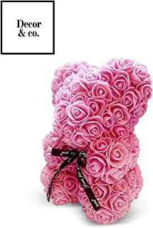 Preserved Rose Teddy Bear | San Valentin Day | Rose Bear for Valentines Day by Decor & Co (Pink, 10