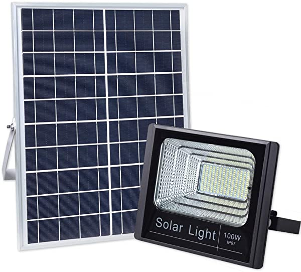 100W Solar Powered Street Flood Lights 196 Leds 5 000 Lumens Outdoor Waterproof IP67 With Remote Control Security Lighting For Yard Garden Gutter Swimming Pool Pathway Basketball Court Arena