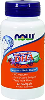 NOW Supplements, DHA Kids 100 mg, Supports Brain Health*, Fruit Flavor, 60 Chewable Softgels