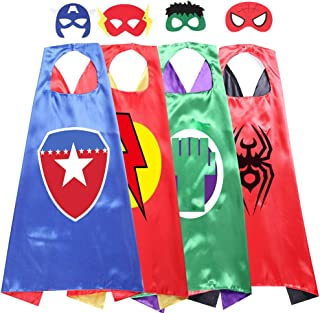 Kids Cartoon Superhero Capes Dressing Up Costume and Mask for Halloween Brithday Party Gifts