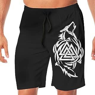 Odin Thor Viking Tribal Norse Wolf Valknut Mens Board Shorts Beach Swim Shorts Beachwear Shorts