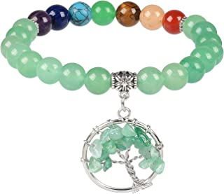 Yatming 7 Chakra Beads Tree of Life Stretch Bracelet for Women and Men, Reiki Healing Stone Jewelry for Yoga and Meditation