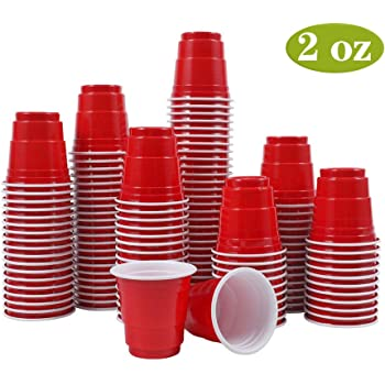 Abom Mini Disposable Shot Glasses - 2oz 120 Count Red Plastic Shot Cups Mini Party Cups for Jello Shots, Jager Bomb, Beer Pong, Condiments, Snacks, Samples and Tastings