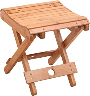 Salafey Bamboo Folding Stool for Shaving Shower Foot Rest,Home Portable Folding Shower Seat,Fully Assembled 12.4 Inches Height