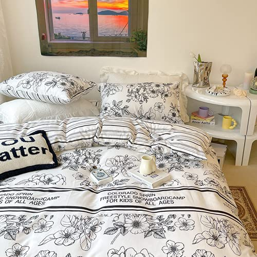 sochampion Double Bed Sheet-Four-Piece Bedding Set-With 4 Pillowcases + Duvet Cover + Bed Sheet / Easy To Clean / Decorate The Bedroom