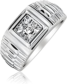 Bling Jewelry Mens Geometric Square Invisible Cut CZ Watch Band Style Engagement Ring Pinky Ring for Men 925 Sterling Silver