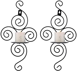 sipakbt 2 Piece Spiral Black Metal Wall Candles Holder Candlestick Candle Holder Creative Deco