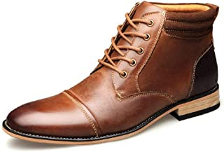 QXA Fashion Combat Boots for Men High Top Boots Lace up Side Zipper Genuine Leather Cap Toe Round Toe Experienced Stitched Waxy Shoelaces shoes