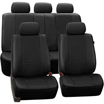 FH GROUP Universal Fit Full Set Deluxe Seat Cover - Leatherette (Black) (Airbag Compatible and Rear Split, Fit Most Car, Truck, SUV, or Van, FH-PU007115)