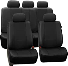 FH Group PU007BLACK115 Universal Fit Full Set Deluxe Seat Cover - Leatherette Airbag Compatible and Rear Split, Fit Most Car, Truck, SUV, or Van