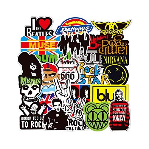 DIWSO Rock and Roll Sticker Pack (100 Stück) Aufkleber für Wasserflaschen Laptop Motorrad Fahrrad Skateboard Gepäck Aufkleber Graffiti Patches Hippie Aufkleber