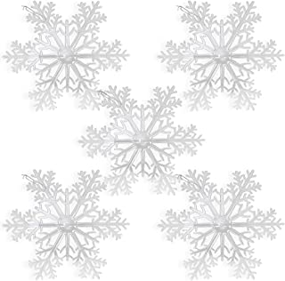 BANBERRY DESIGNS Large Snowflakes - Set of 5 Clear Acrylic Large Snowflakes with Frosted Tips - Approximately 12