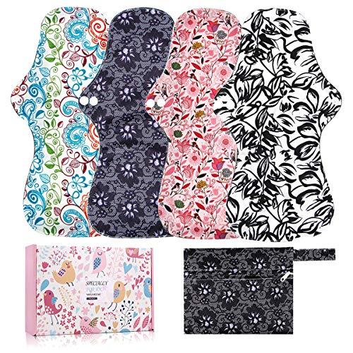 YueTech Lot de 4 serviettes hygiéniques lavables pour la nuit de 32,5 cm de long avec couche d'absorption au charbon de bambou et bout festonné, 1 mini sac inclus