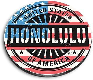 Aimants ronds en MDF Destination - Honolulu Hawaii - Drapeau américain de voyage pour bureau, armoire et tableau blanc - 6066