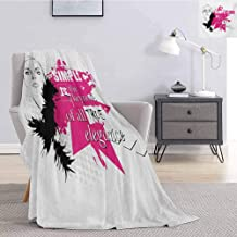 Girls Bedding Microfiber Blanket Lady Face with Makeup Simple Design Inspirational Vogue Fashion Theme Art Super Soft and Comfortable Luxury Bed Blanket W91 x L60 Inch Black Pink Pale Grey