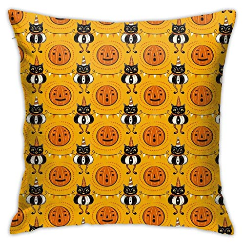 Halloween Cats Soft Decorative Square Throw Pillow Covers Cushion Cases Pillowcases for Sofa Bedroom Car 18 X 18 Inch