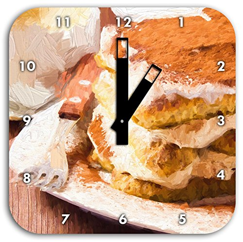 Stil.Zeit Leckeres Dessert mit Kaffee Pinsel Effekt, Wanduhr Quadratisch Durchmesser 28cm mit schwarzen eckigen Zeigern und Ziffernblatt