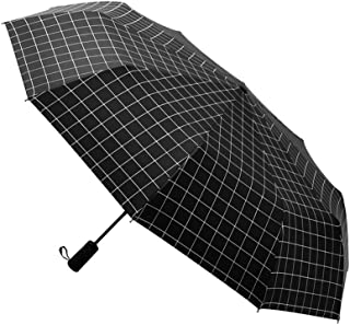 AIZBO Outdoor Windproof Travel Umbrella Anti UV Sun/Rain Folding Portable Plaid Umbrella Manual Opens/Closes Sun Parasol