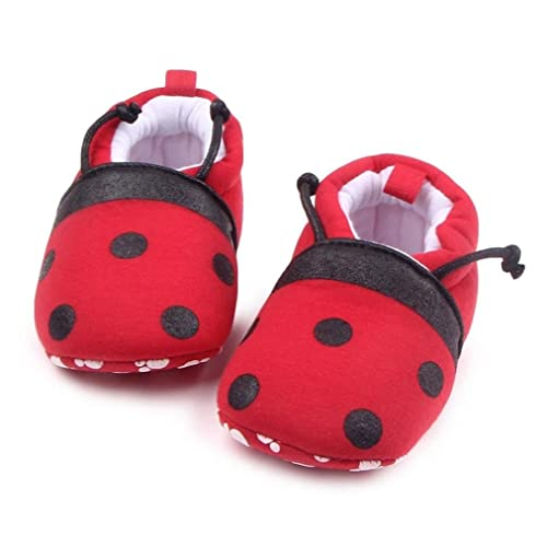 a4c16ddf33f Auwer Cute Ladybug Baby Shoes Toddler First Walkers Shoes Round Toe Flats Soft  Slippers Prewalker Socks