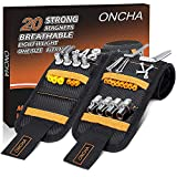 ONCHA Magnetic Wristband, 2 Pack Tool Belts With 20 Strong Magnets for Holding Screws Nails Drill Bits, Unique Christmas Gifts for Men, Dad/Father, DIY Handyman, Husband, Boyfriend, Carpenters