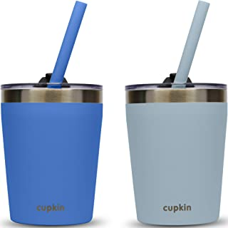 CUPKIN Stackable Stainless Steel Kids Cups for Toddlers (EASY to Clean) - Set of 2 Powder Coated Vacuum Insulated Tumbler...