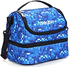 MIER 2 Compartment Kids Small Lunch Box Bag for Boys Girls Toddlers, Adult Leakproof Cooler Insulated Lunch Tote with Shoulder Strap (Blue)
