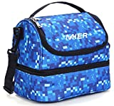 MIER Double Decker Insulated Lunch Box Soft Cooler Bag Thermal Lunch...