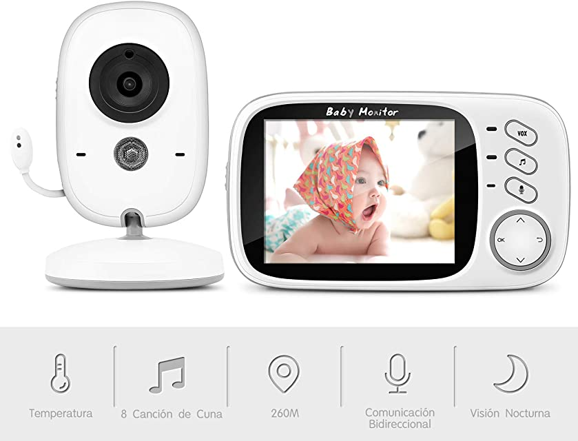 Vigilabebés Inalambrico con Cámara BOIFUN Monitor de Bebé Inteligente con Pantalla LCD de 3.2 VOX Visión Nocturna Monitoreo de Temperatura Despertador Comunicación Bidireccional Recargable