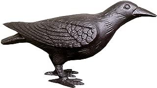 Primitive Large Life-Sized Decorative Black Cast Iron Raven Crow Bird Head Up