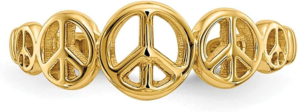 Solid 14k Yellow Gold Peace Sign Adjustable One Size Fits All Toe Ring (2 to 5 mm)
