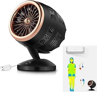 YYYUE Mini Ventilador de Escritorio USB, 2 rotatorio Velocidad Doble refrigerador de la Hoja, de bajo Ruido Oficina de Personal Dormitorio con Aire de circulación, Regalo Creativo,Oro