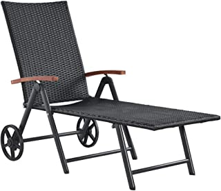 vidaXL Sun Lounger with Wheels Outdoor Chair Patio Garden Outdoor Beach Daybed Deck Sun Lounge Recliner Sunbathing Furniture Poly Rattan Black