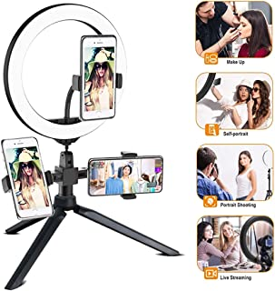 DLMPT Hose Bracket Ring Make Up Light with Phone Holder Adjustable Color Temperature and Brightness Ringlight Make Up Light USB Charging Interface for YouTube Vlog Makeup Video Shooting Salon