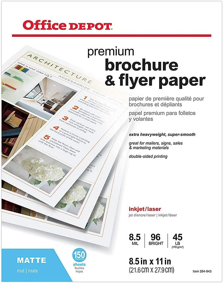Office Depot Professional Brochure and Flyer Luxury goods 8 Paper A surprise price is realized Matte 1 2