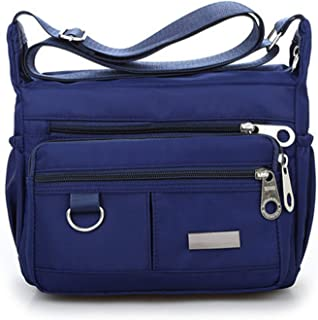 Women Fashion Solid Color Zipper Waterproof Nylon Shoulder Bag Crossbody Bag