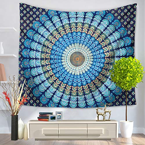 QLIGHA Paon Tapisserie Tenture Murale Indien Mandala Bohème Hippie Maison Art Mur décoration tapisseries Plage Couverture,GT1001_2,L59×79\