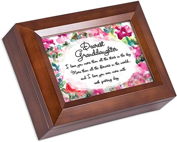 Cottage Garden Dearest Granddaughter I Love You More Wood Finish Jewelry Box Plays You Are My Sunshine