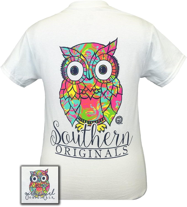 Girlie Girls Preppy Owl White Short Sleeve TShirt