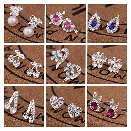 LDH 9/12 Pairs 925 Silver Plated Earrings for Girls Cubic Zirconia Stud Earrings Set Simple Temperament Combination Set (Color : C)