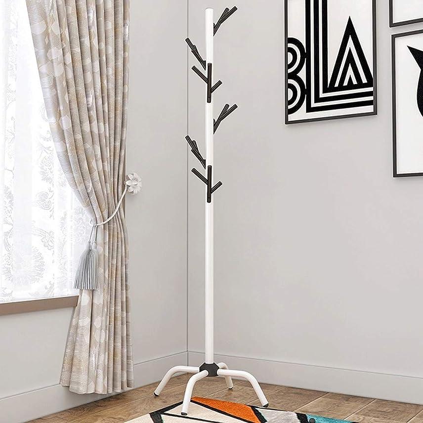 中止します削る木材ポールハンガー 室内物干しハンガーラック クリエイティブコートラックハットスタンド無料立ちディスプレイホールツリー金属帽子ハンガー衣服ストレージホルダー服フックとスカーフの複数のフック (Color : Black, Size : 40×176.5cm)