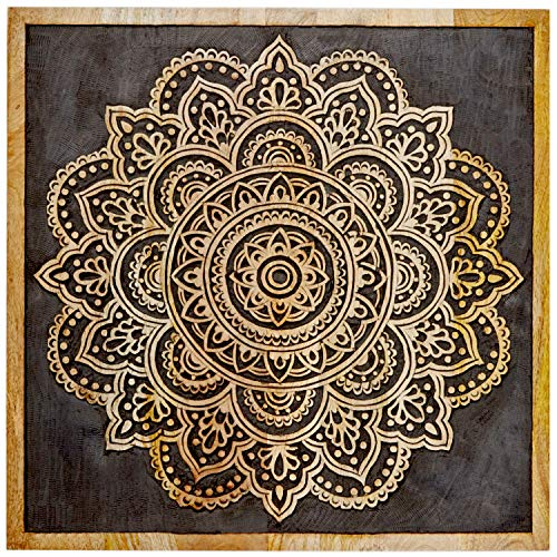 Orientalische Holz Ornament Wanddeko Hand der Hadji 60cm gross XL   Orientalisches Wandbild Wanpannel in Schwarz als Wanddekoration   Vintage Triptychon als Dekoration im Schlafzimmer oder Wohnzimmer
