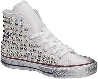 Scarpe Personalizzate Borchiate Sneakers (Artigianali) con Total Borchie Tronco Cono Oro Effetto Invecchiato