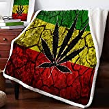 Rasta Flag Pattern Sherpa Flannel Throw Blankets Thick Reversible Plush Fleece Blanket for Bed Couch Sofa Decor Leaf on Crack Soil Texture ,Ultra Soft Comfy Warm Fuzzy TV Blanket 60x80Inch