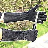 Langarm Schnittsichere Handschuhe, TTMOW Schnittfeste Handschuhe aus Stahldraht + hochfestem Polyester, Schneidschutz der Stufe 5, Größerer Schutzbereich