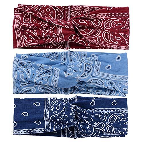 Bandeaux pour femmes Bandeau de sport Bohême Imprimé floral Tête de noeud torsadée Bandeau Yoga Bandeau en Turban élastique (Bleu foncé Bleu clair Vin rouge)