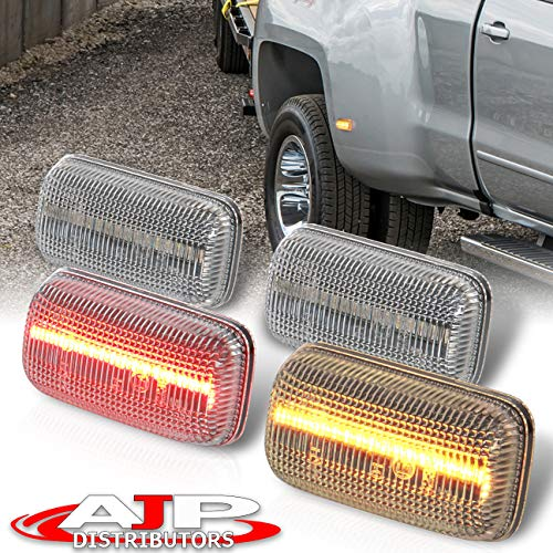 AJP Distributors Front Amber Rear Red LED Fender Side Marker Lights Lamps Pair Compatible/Replacement For Silverado Sierra 2500HD 3500HD Dually 2015 2016 2017 2018 2019 2020 2021 15 16 17 18 19 20 21