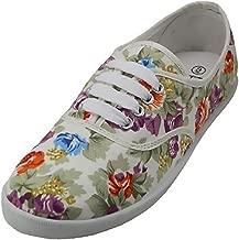 Women's White Multicolor Floral Print Canvas Lace Up Sneaker Plimsoll Tennis Shoe